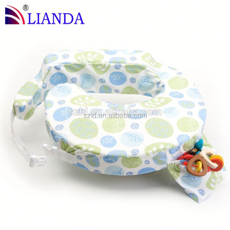 High thread cotton fabric baby nursing pillows, memory foam padding breastfeeding pillow for new mothers