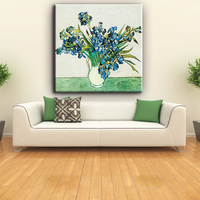 Restaurant decorative modern bright flowers and vase oil paintings on canvas