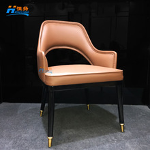 Amercian modern simple design wooden leather cafe restaurant chair