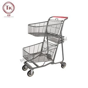 Grocery Double Basket 2-tier Shopping Cart For Super Market