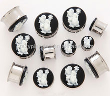 unique design of fairy cameo double flares 316L stainless steel body ear piercing tunnel stud jewelry