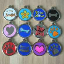 laser engraved 25mm heart/paw/bone/star flower cat/ dog puppy ID disc tag pet tags