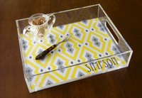 clear acrylic serving tray with hands