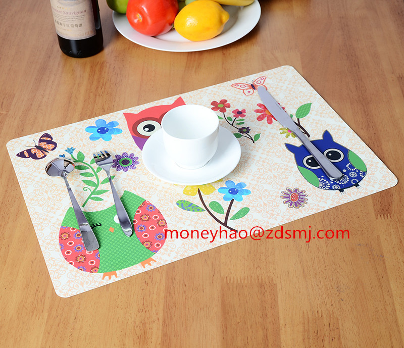 2018 OWLS DESIGNS with NEW waterproof function LFGB test material uv printing plastic pp eco-friendly dining table placemat