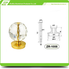 Decorative crystal ball on stairs railings/aluminum handrail post head/stair balustrades