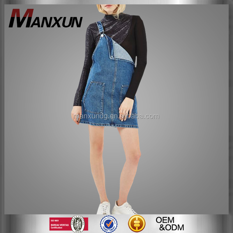 Summer New Style Fashionable Denim Pinafore Short Dress for Girl Latest Apparel Designs with Sleeveless