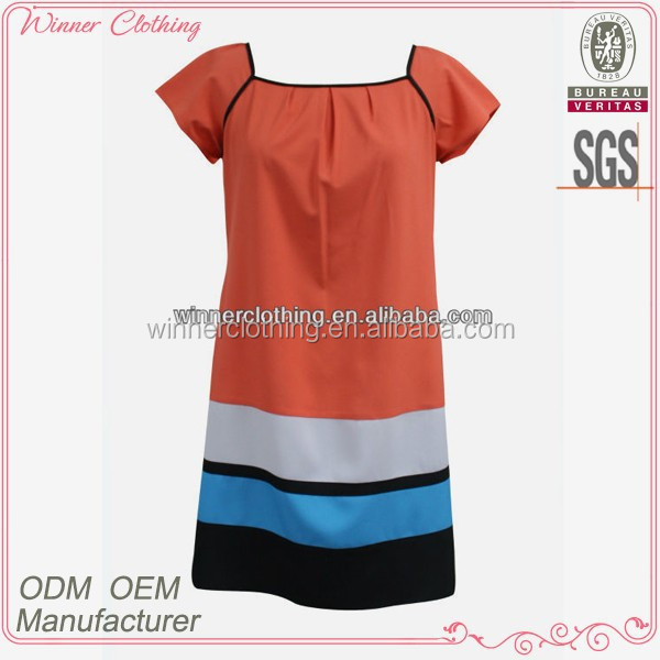 summer/casual simple/cheap knee length dress patterns with short sleeve