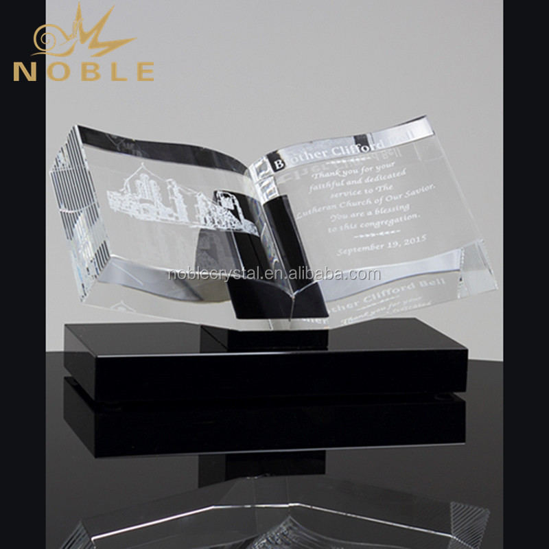 Religious Bible Award Christian Crystal Book Trophy