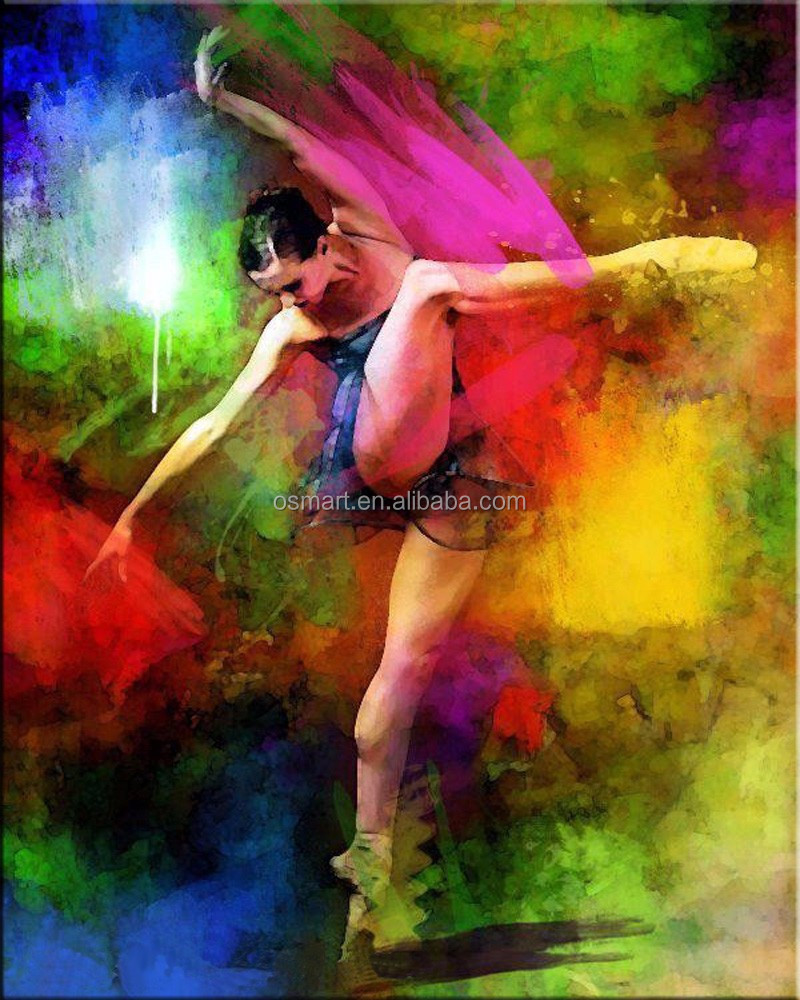 High Quality Club Decorate Handmade Abstract Ballet Dancer Oil Painting