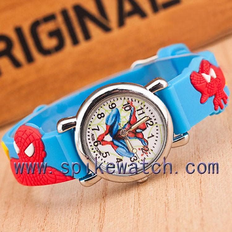 Cool spiderman pattern 3d rubber band customized kids cartoon silicone watch