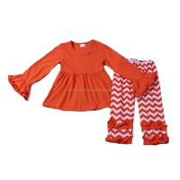 wholesale halloween outfits blank top match orange chevron pant newborn baby clothes