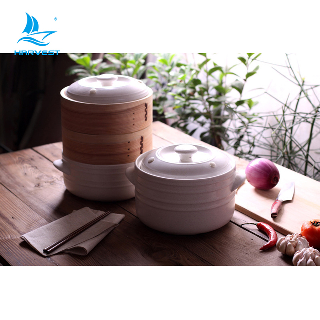 High quality ceramic soup pot with bamboo food steamer with your logo