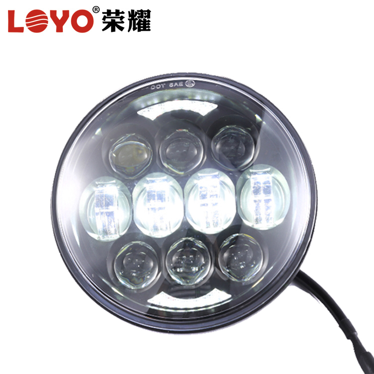 Black 5.75'' 40w high/low beam led headlight for harley with DRL halo ring