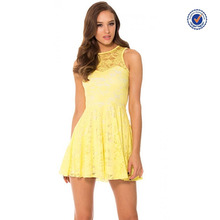 Yellow lace cut out sleeveless cute womens skater dress ice skating dresses for ladies