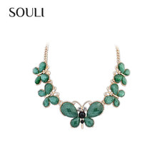 Fine Necklace Jewelry, Butterfly Emerald Statement Necklace for Women