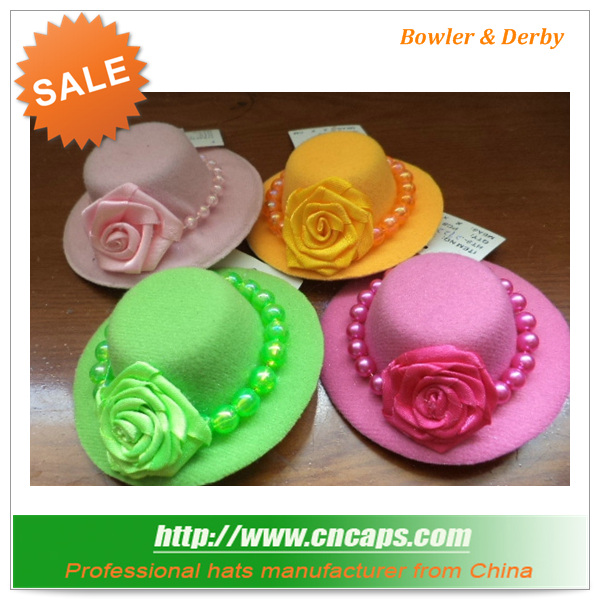 Derby decorate bowler hats with flower decoration wholesale