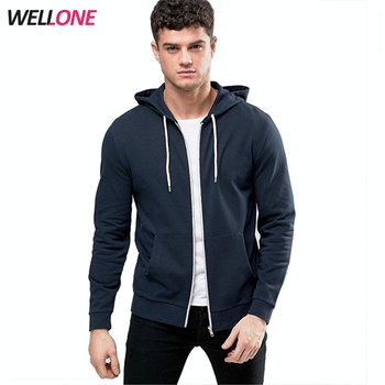 Wellone causal long sleeve blank nave no logo french terry 100% cotton fashion custom man wholesale plain zip hoodies
