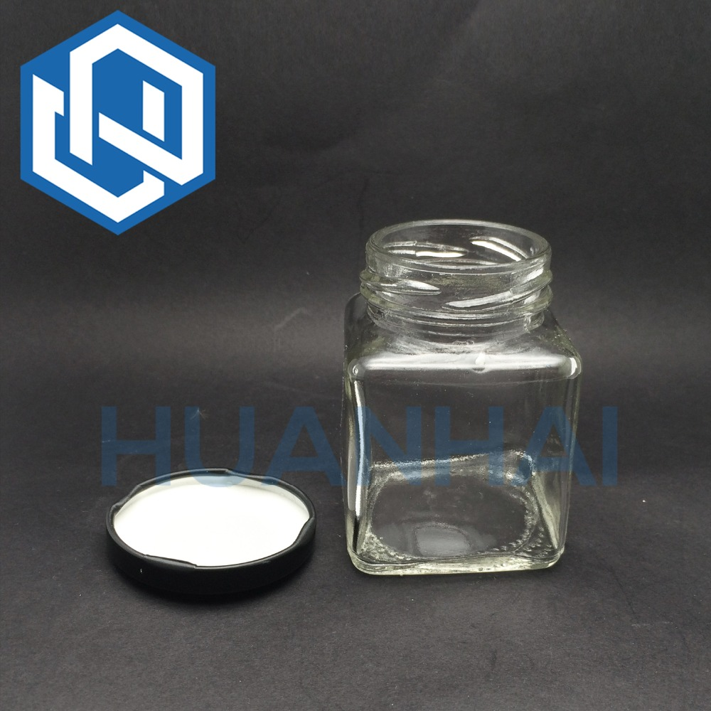 Glass Square Jars Food Packaging Tea Storage Container 220 ML