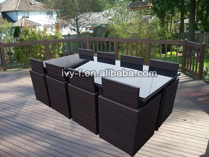 garden dining set PE rattan cube dining table and chairs 8-seating 9 pieces set