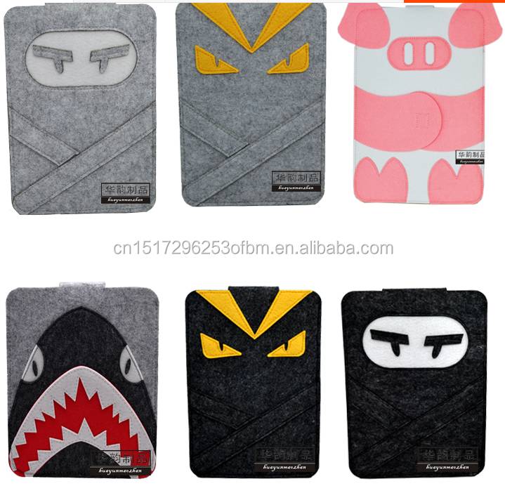 Fashion Black 9.7 inch Wool Felt Tablet Case Cartoon Naruto Bag Tablet Sleeve Tablet Pouch Laptop Bag