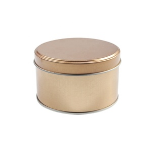 Gold printed round metal cosmetics tin can wax tin box