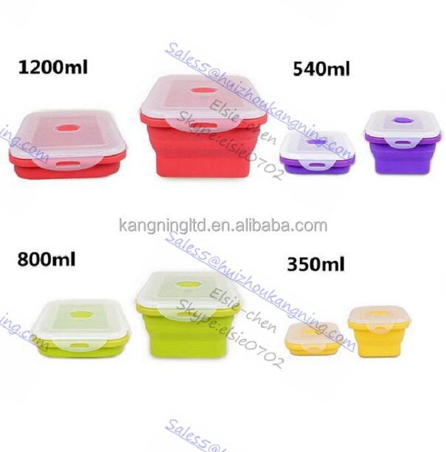Silicone Outdoor Lunch Box Silicone Collapsible Outdoor lunch box Silicone NON Leaking Lunch Box