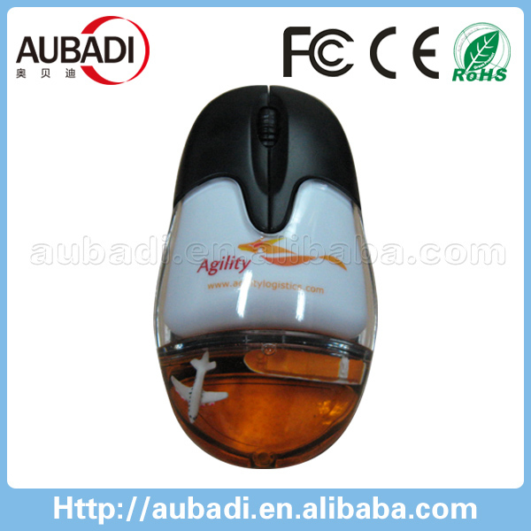 Shenzhen wireless both hands opitcal computer mouse with liquid inside