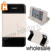 Double-color Foldable Wallet Stand Leather Case for iPhone 4 4S Case