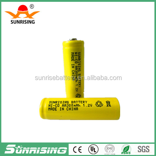 Sunrising 1.2v NI-CD AA300mAh rechargeable battery made in china