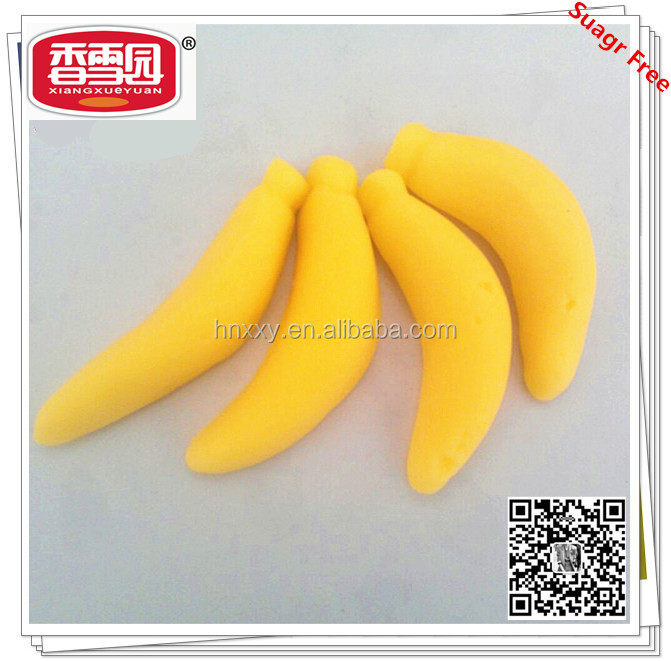 Customized healthy soft chew sweet big banana shape gummy candy