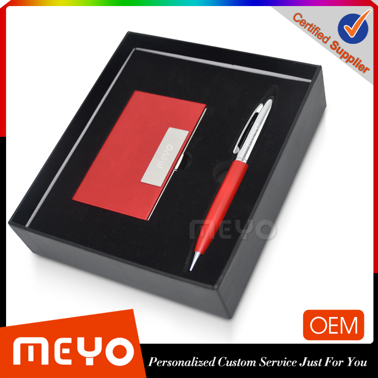 Gel metal pen leather card holder promotional gifts 2017