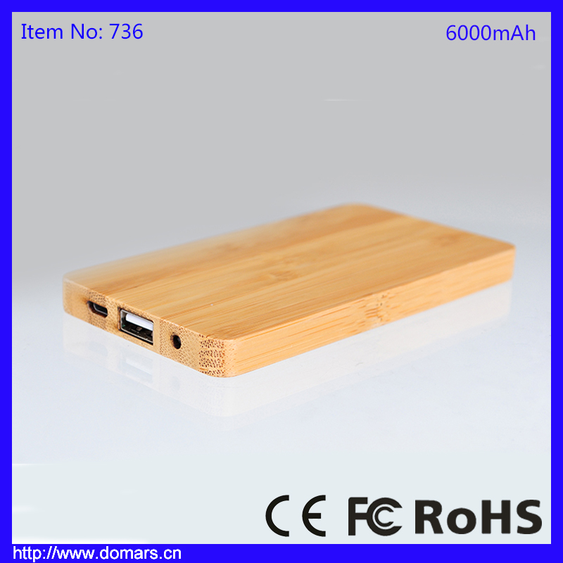 Original Power Bank 6000mAh Bamboo Wood Cell Phone Battery Charger For iPhone 5
