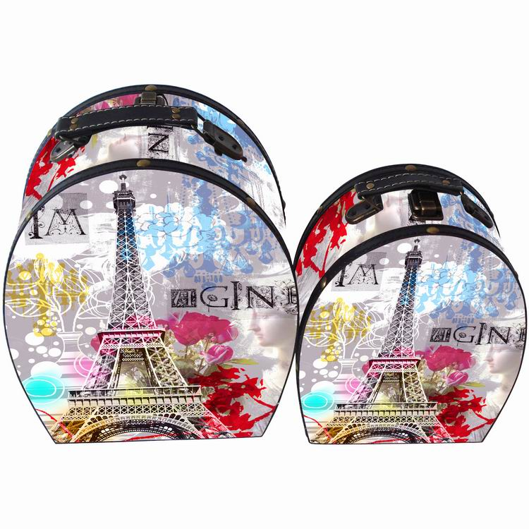 Effie Tower flower print finished paris <strong>wood</strong> round storage boxes for toys