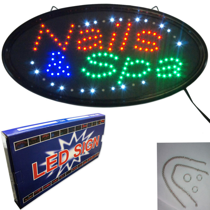 "Animated 19"" x 10"" NAILS & SPA LED Business Sign shop salon studio display store BRIGHT"