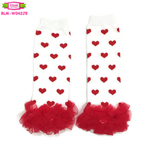 Valentines day white with red heart print baby legwarmers red chiffon ruffled kids leg warmers