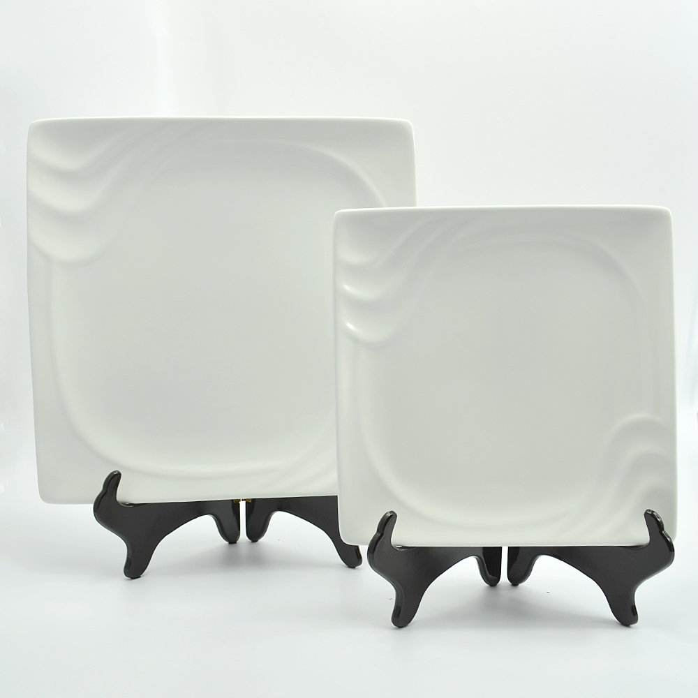 Square shape white porcelain fine dining plates