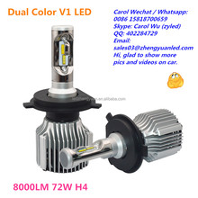 Now or Never 8000lm 72W Dual color led h9 led lighting auto lighting system cars use 9005 bulbs pk h4 xhp70 drl luxeon 6800lumen