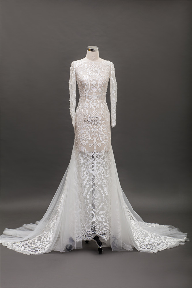 Hand embroidery designs wedding dresses ivory lace bridal dress