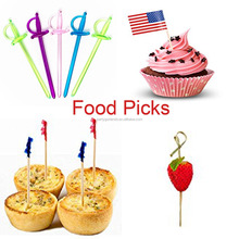 Wholesale bamboo party picks wooden fruit sticks plastic picks