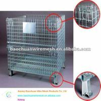 steel Collapsible and stackable metal galvanized storage cage