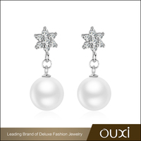 OUXI New Arrival Star Shaped Sterling Silver Stud Earrings with Pearl
