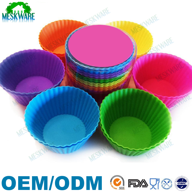 Top quality FDA 100% Food Grade Silicone Baking Cup with box package