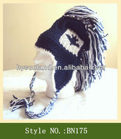 Navy roman Helmet Canada Flag Hat custom earflap Beanie with tassel
