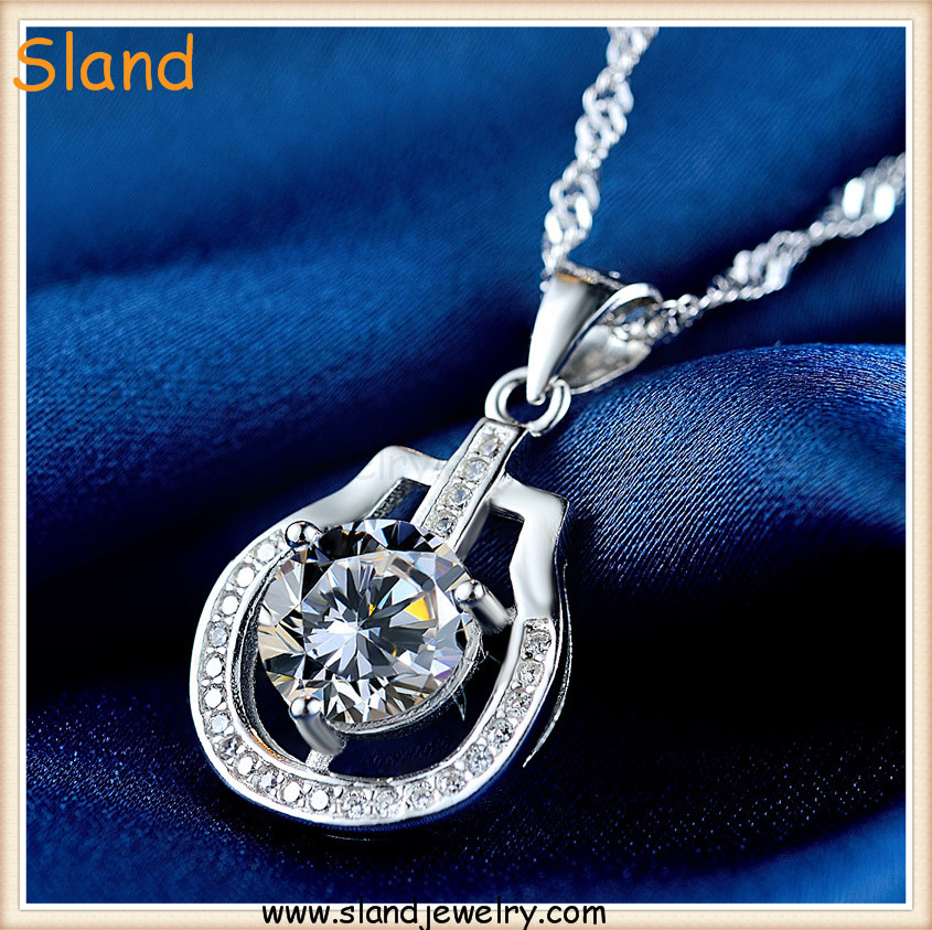 high quality Factory Ex-work price Fancy design 925 sterling silver guitar cz pendant for women necklace