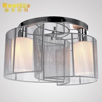 RT8021-2B White Fabric Modern Ceiling Light With Glass Lamp Shade