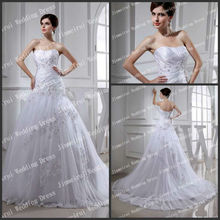 Hot Sale Sleevelss Sexy Backless Lace Edge Ball Gown Wedding Dress 20113 Real Sample
