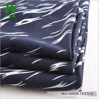 Mulinsen Textile Soft Knit Polyester Lycra DTY Stretch Jersey Printed White And Navy Blue Fabric
