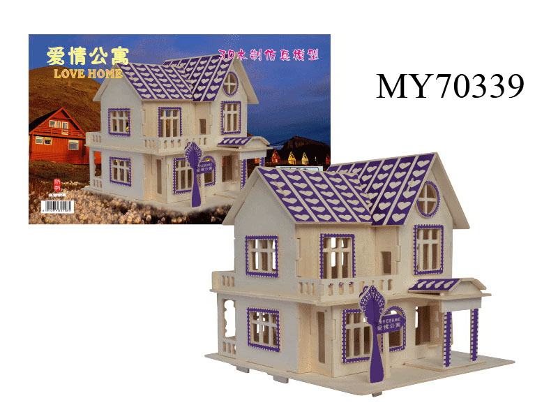 3D wooden Puzzle The hot sale love House Model Card Kit
