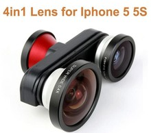 Detachable Professional 4 in 1 Fish Eye + Macro + Super Wide + Self-timer Fisheye Mobile Phone Lens Kit for iPhone 5 5S Camera