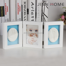 two AIR clay folding wooden frame air dry clay Personalized 3D Baby Handprint and Footprint Photo Frame Kit